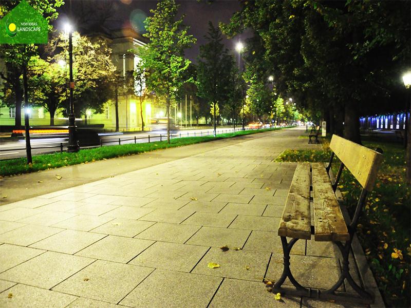 trạng trí công viên với đèn